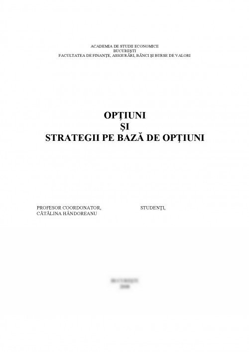 strategii de bază pentru opțiuni)