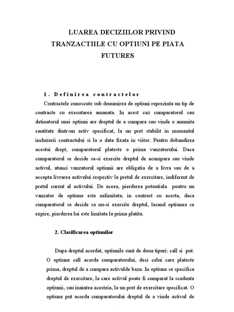 exemple de tranzacții cu opțiuni)