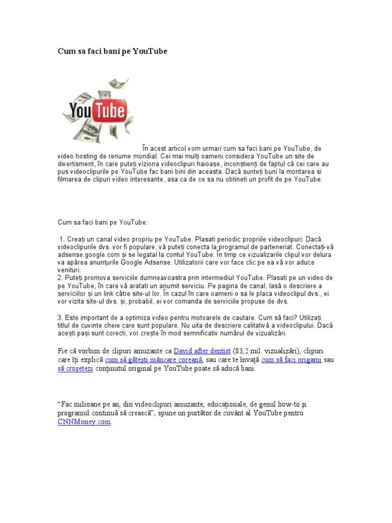 cum să faci bani pe YouTube pentru video