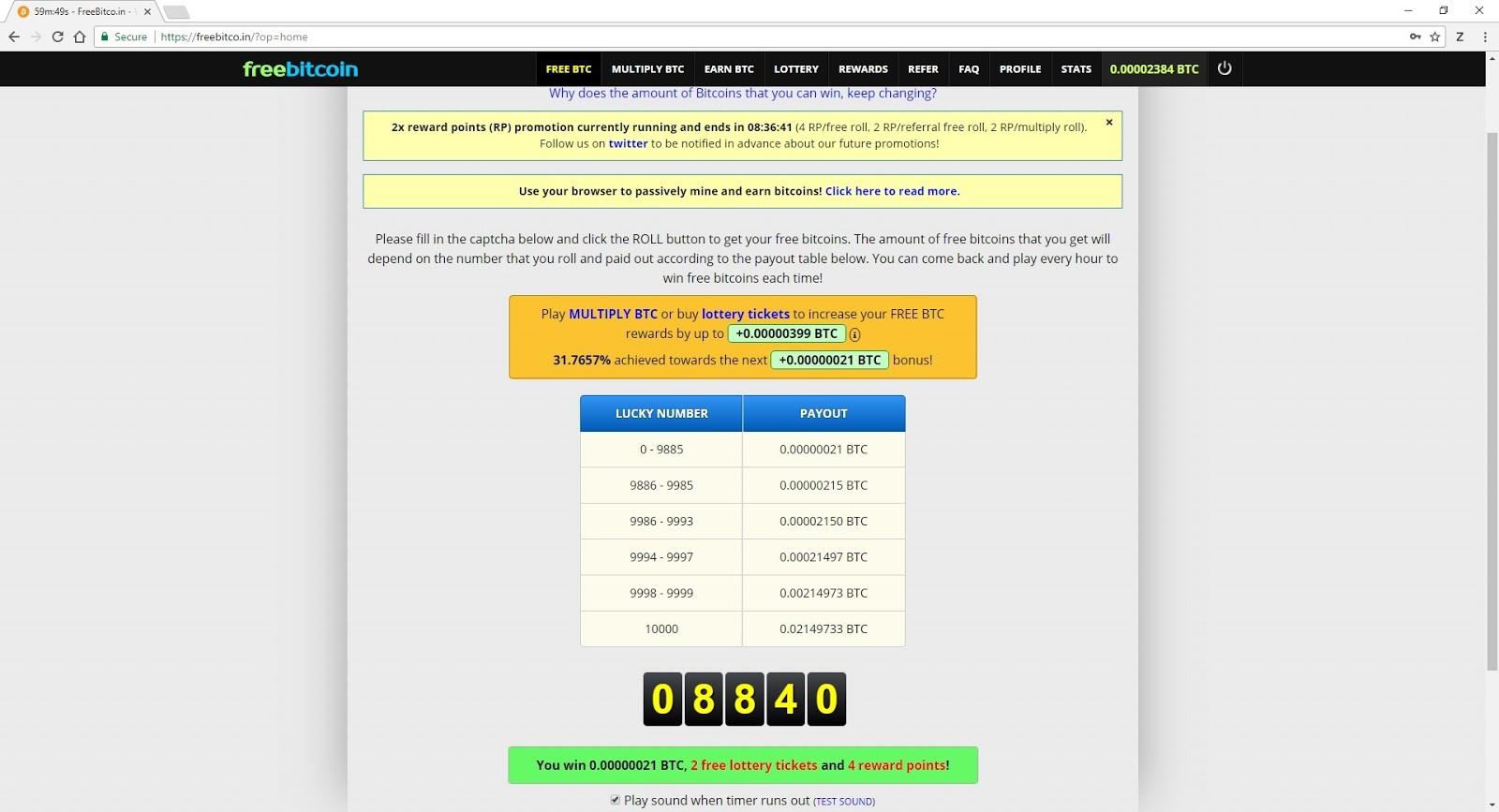 posibilitatea de a câștiga Bitcoin)