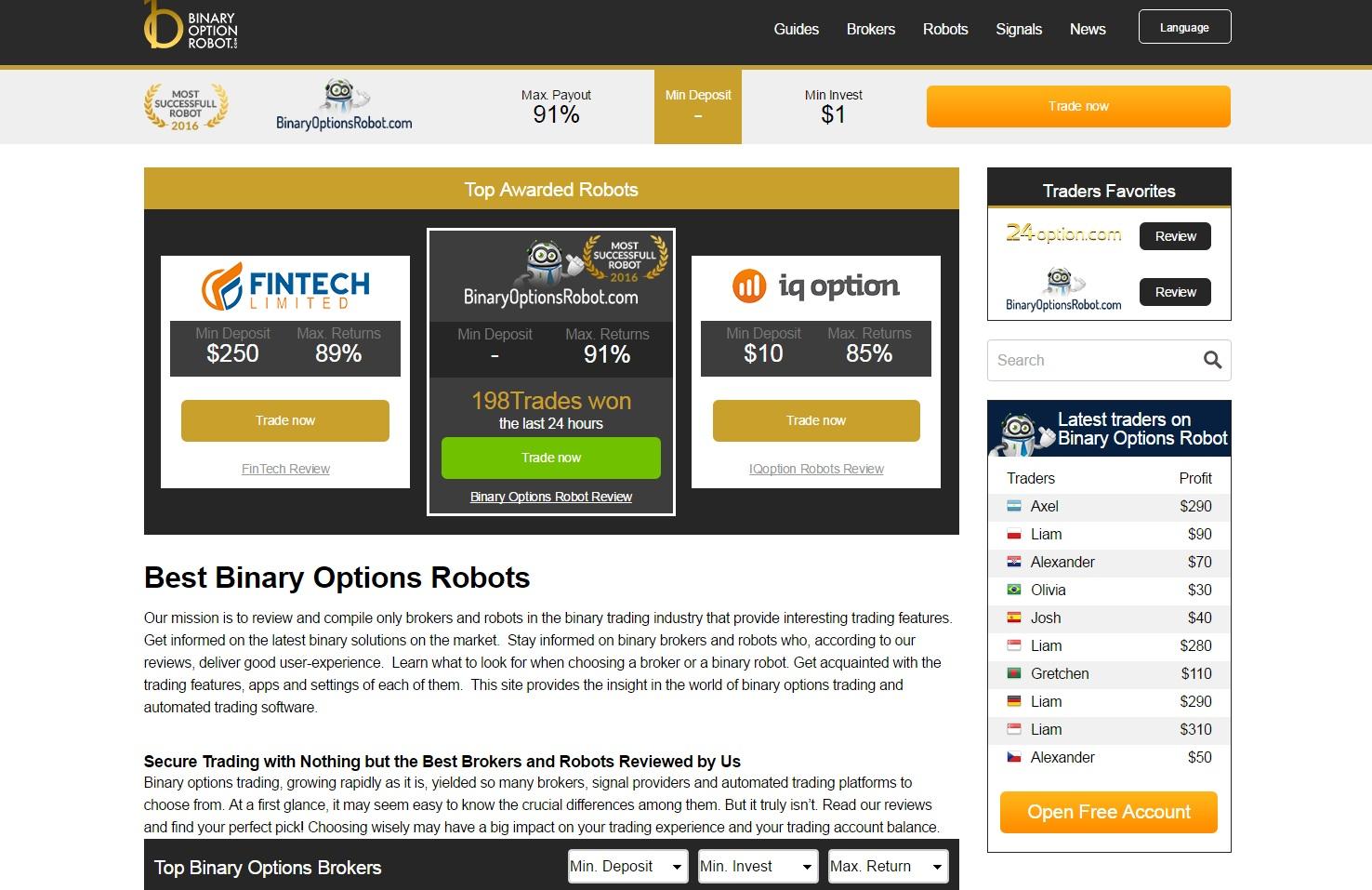 roboți pentru recenzii de opțiuni binare