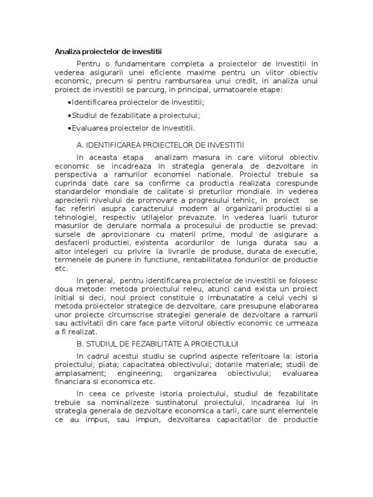 evaluarea proiectelor de investiții folosind opțiuni reale)