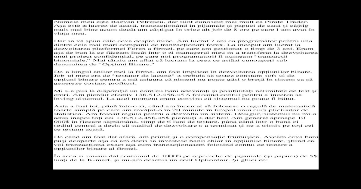 perechi pentru tranzacționarea opțiunilor binare