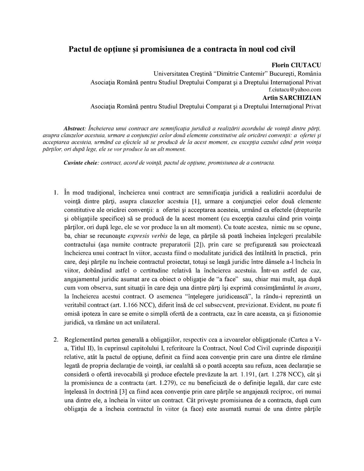 Pact de opțiune   Dictionar juridic (dex)